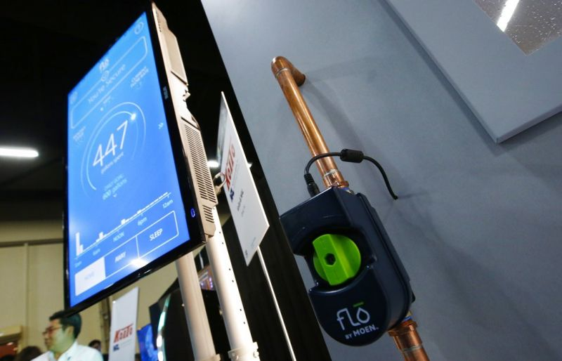 Flo, designed by Moen to detect water leaks and water usage on for an entire home and show all the information on an app, is displayed at the CES Unveiled at CES International Sunday, Jan. 6, 2019, in Las Vegas. (AP Photo/Ross D. Franklin)