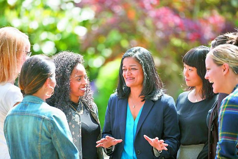 People's woman: Pramila Jayapal, centre, has fought for the rights of minorities in the US