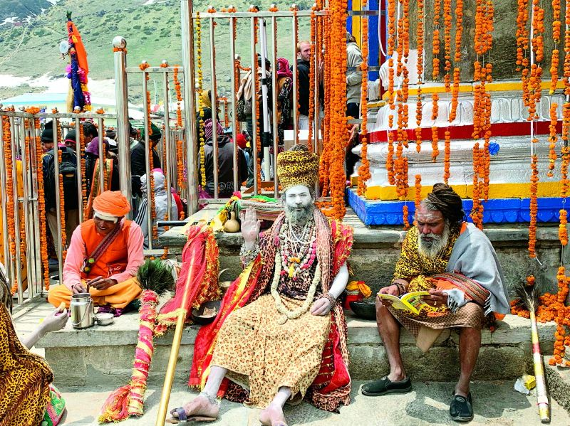 Sadhus at the Kedarnath Temple