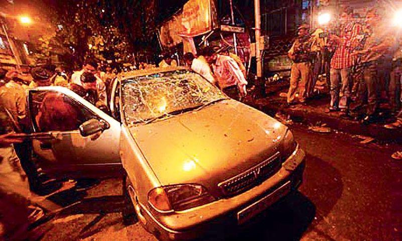The car used by terrorists Ajmal Kasab and Abu Ismail Khan