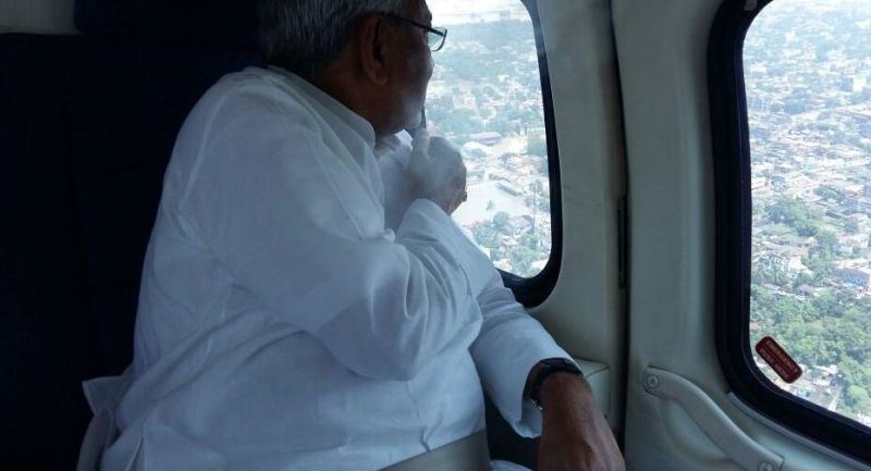 Bihar Chief Minister Nitish Kumar conducts aerial survey of flood affected areas. (Photo: ANI)