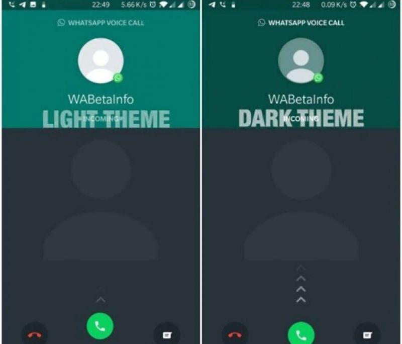 WhatsApp dark mode call screen