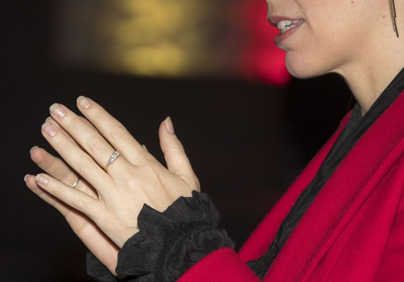 New Zealand Prime Minister Jacinda Ardern gestures as she shows her engagement ring during a media event in Auckland, New Zealand. (Photo:AP)
