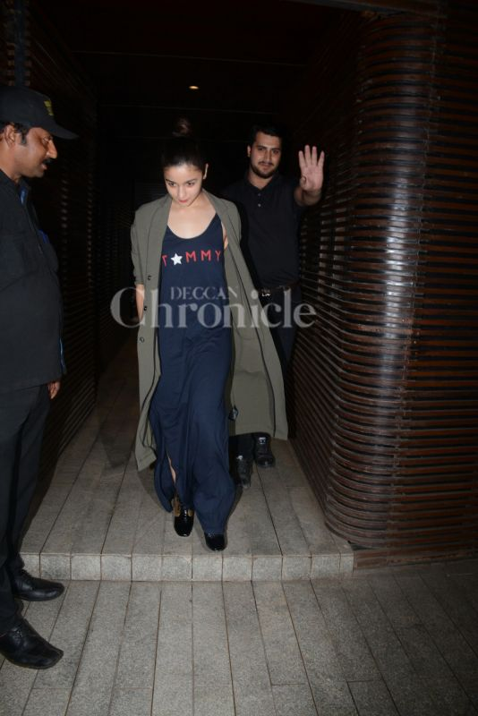 Alia Bhatt outside ex-boyfriend Ali's party.