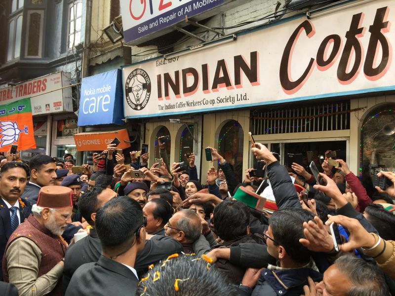 Shimla: PM Modi relishes coffee at iconic Indian Coffee House