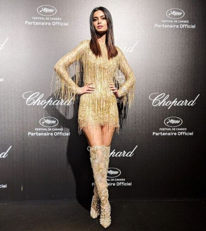 Diana Penty wearing a gold Celia Kritharioti dress on debut. (Photo: Instagram @dianapenty)