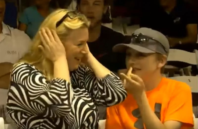 A woman spectator at that point jokingly urged a young boy to place his hands over his ears. (Photo: Screengrab)