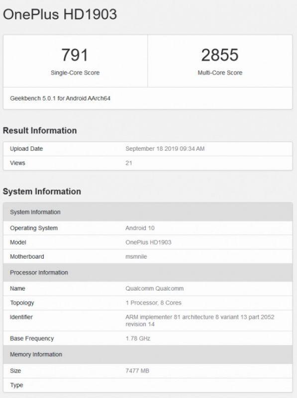 OnePlus 7T benchmark leak