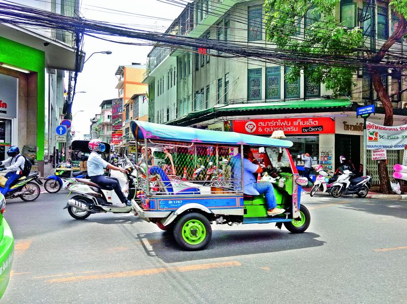 Tuk Tuks, roaming freely around the city originated from an old-fashioned rickshaw during the second World War.