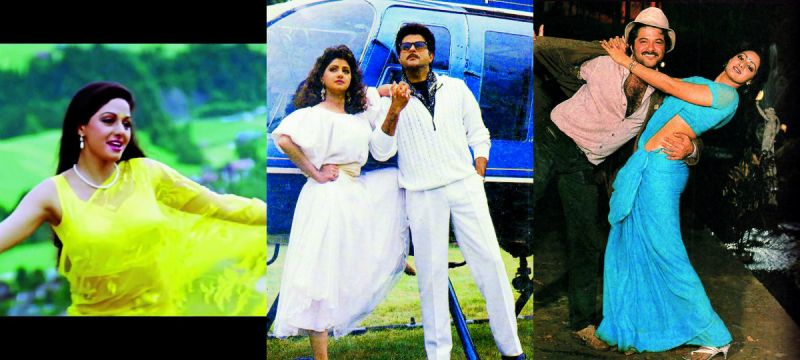 Sridevi set trends with her looks in (from left) Chandni, Lamhe and Mr India