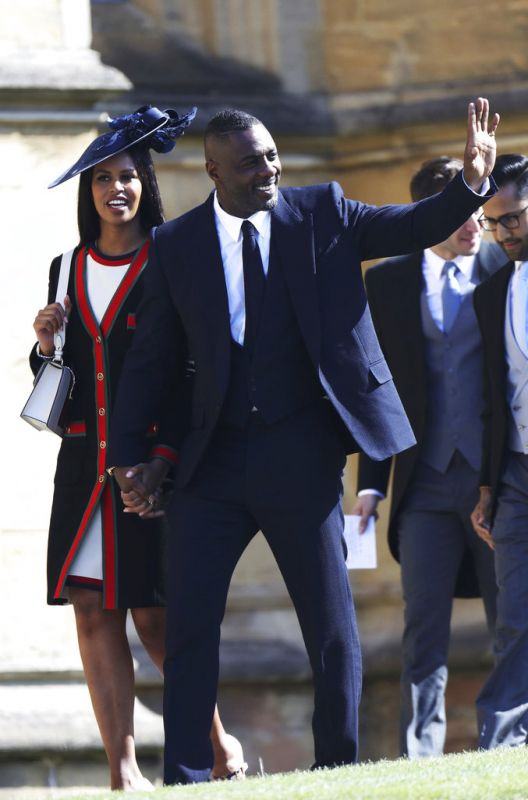 Sabrina Dhowre and Idris Elba arrive for the wedding ceremony of Prince Harry and Meghan Markle. (Photo: AP)