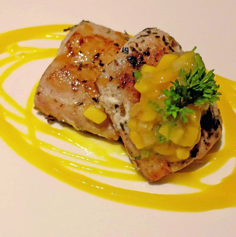 Grilled mahi mahi with mango salsa.