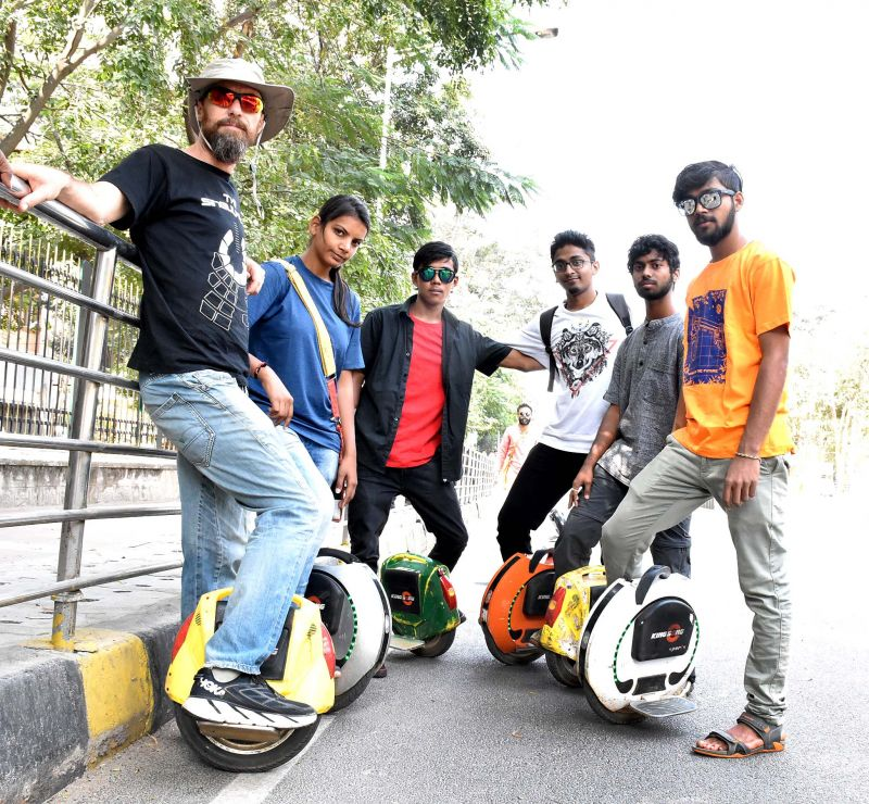 City youngsters and unicycle users Freeman Murray, Dolly, Dorjee, Vinay, Shan and Ravi vouch by the trend in this specially shot photograph.