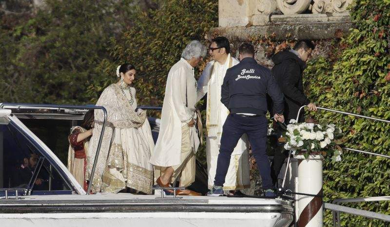 Guests attend the wedding of Indian Bollywood stars Deepika Padukone and Ranveer Singh at the Villa Balbianello in Lenno, Como lake, northern Italy on Wednesday. (Photo: AP)