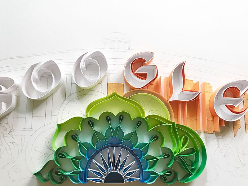 The doodle uses shades of saffron, white, green and blue (Photo: Google)