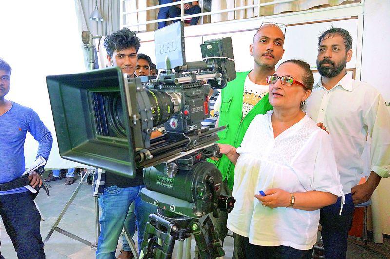 Director Farhad Vijay Arora with the crew.