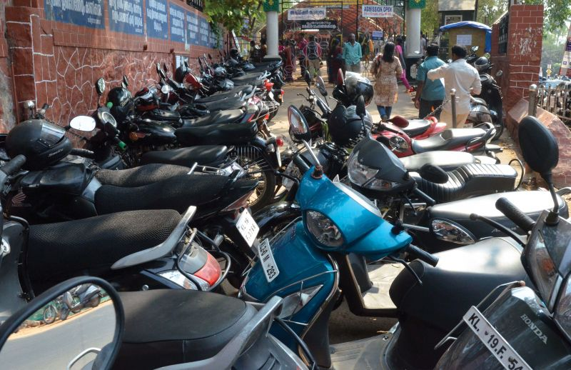 Plenty of bikes that brought PSC candidates for the Hindi teacher examination parked in front of Cotton Hill GHSS in Vazhuthakkad on strike day on Monday.