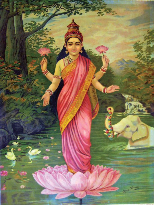 A Raja Ravi Varma lithograph. The Goddess Saraswati's saree is draped in the style in which it is worn today