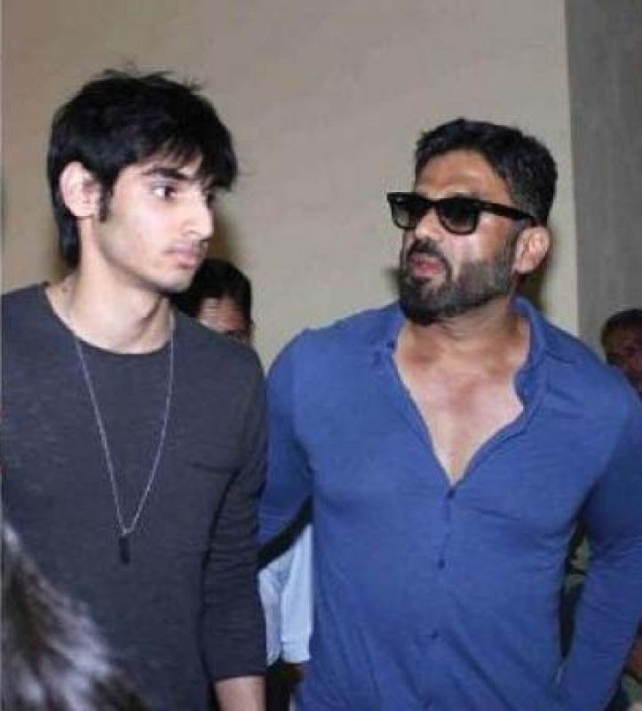 Suniel Shetty with his son Ahan.
