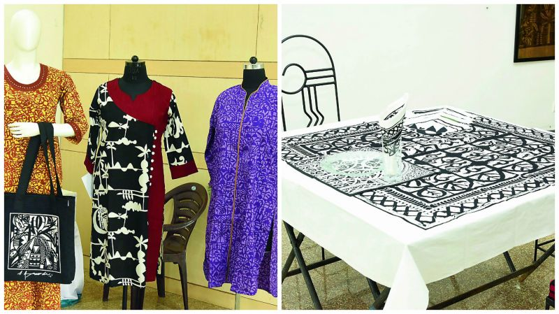 From bags and kurtas to kaftans, breadspreads and even cushions a lot is available on display. All the prints were created by the two artists and their trademark work is visible in them