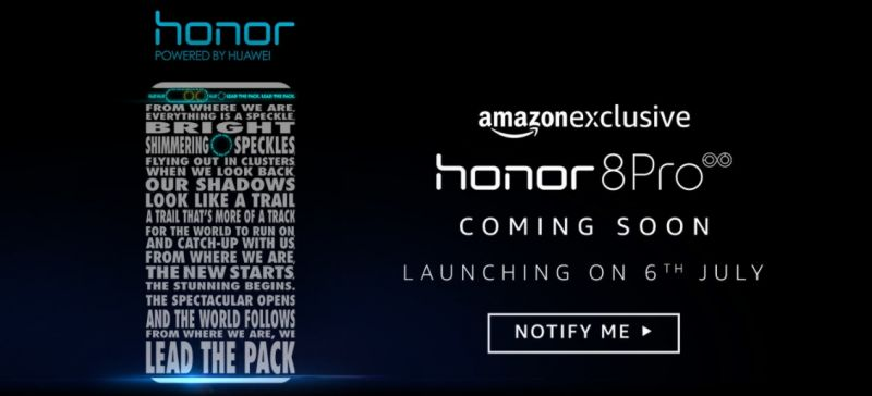 Amazon webpage teasing the launch of Honor 8 Pro