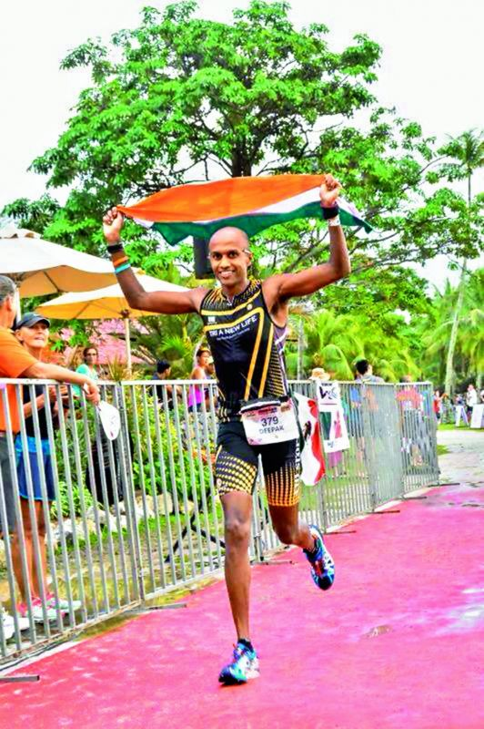 Deepak Raj completing the Ironman Hawaii Championship.