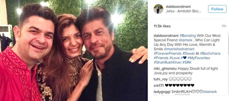 Shah Rukh Khan and family at Amitabh Bachchan's bash