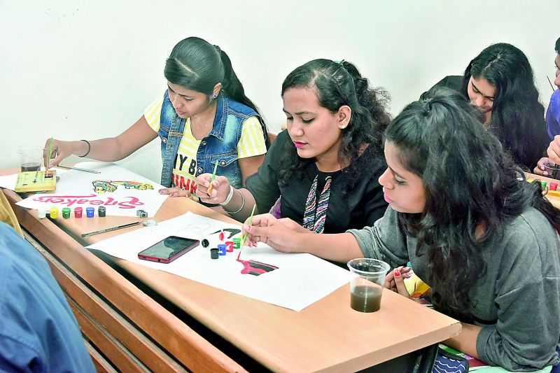 Students participating in an art  competition.