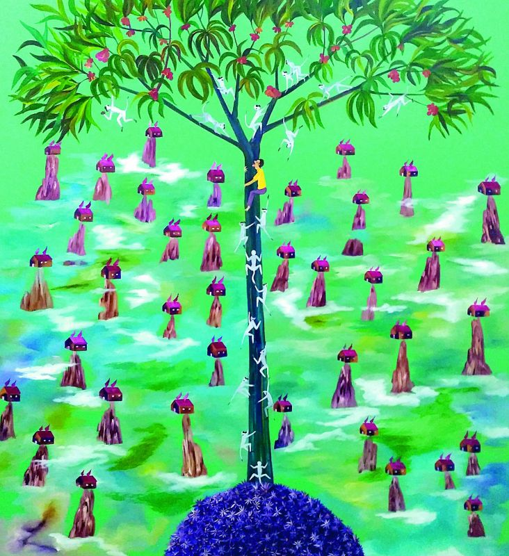 Race to success: Natraj's untitled work brings forth the race to be successful and reach the top.