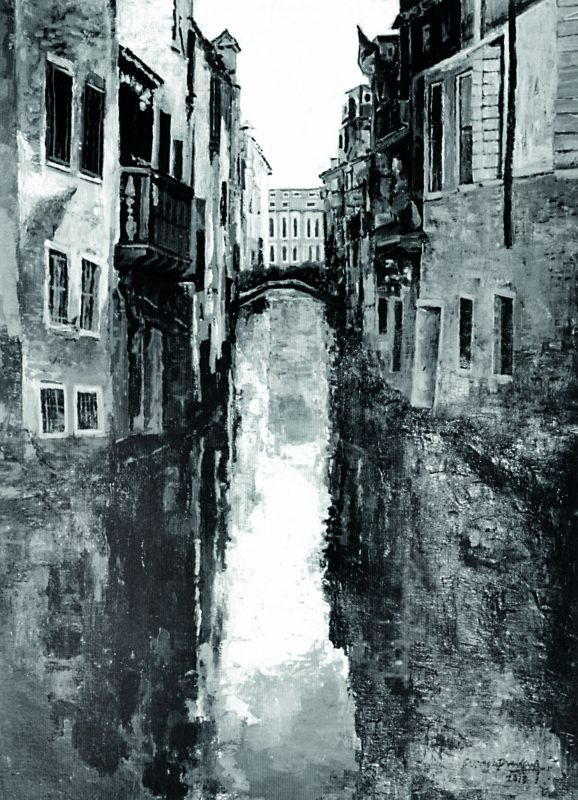 His series of paintings from Venice included one of the very few black-and-white paintings. The  reflection of light on the city's waterways and  canals inspired the entire series.