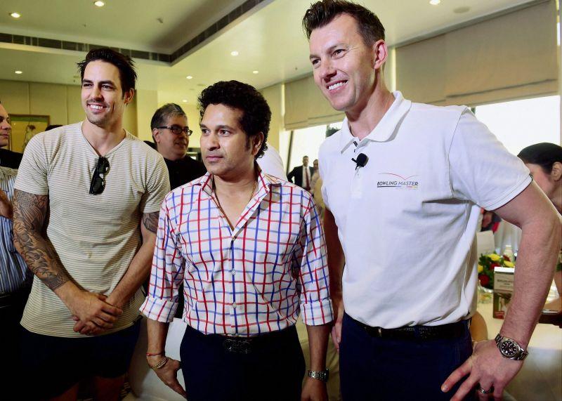 Sachin Tendulkar and former Australian speedster Mitchell Johnson attended Brett Lee's event in Mumbai. (Photo: PTI)