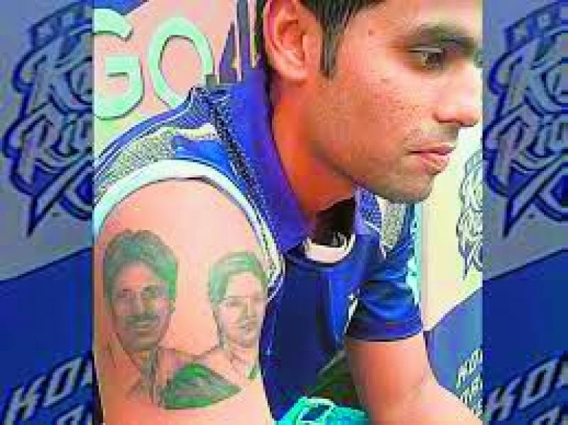 """Surya Kumar is so attached to his parents that he has tattooed their images along with their names on his right arm. """"We didn't want him to face any pain, but he was adamant. It's a permanent tattoo and he's very fond of it,"""" says Ashok Kumar."""