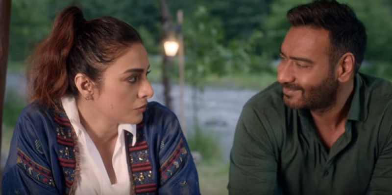 Tabu and Ajay Devgn in the film. (Image Source: YouTube)