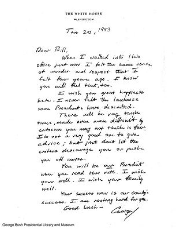 You Must Read The Handover Note George Hw Bush Sent To Bill Clinton