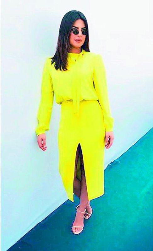 Style diva Priyanka Chopra sporting a neon outfit.