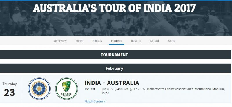 India will host Australia in Pune for the opening Test of the four-match series. (Photo: Screengrab from BCCI website)
