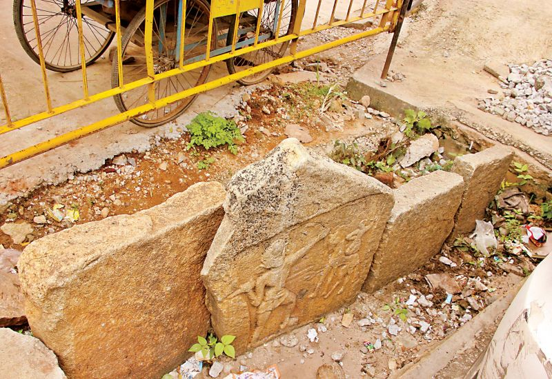 The herostone was brought to Hebbal and placed in a gutter!