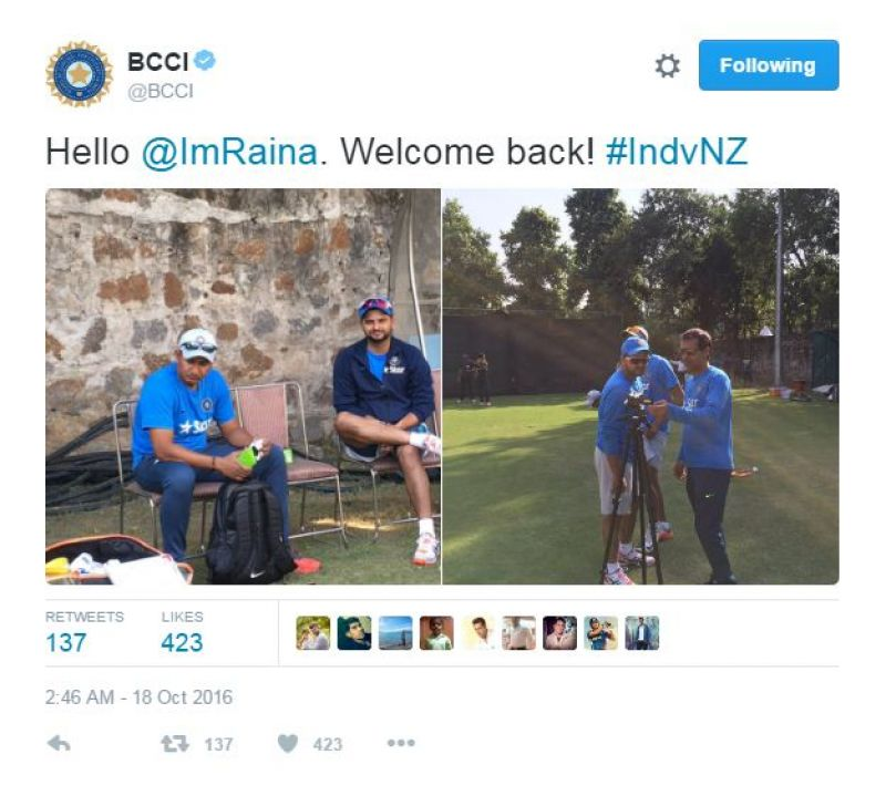 Suresh Raina welcomed back by Team India.