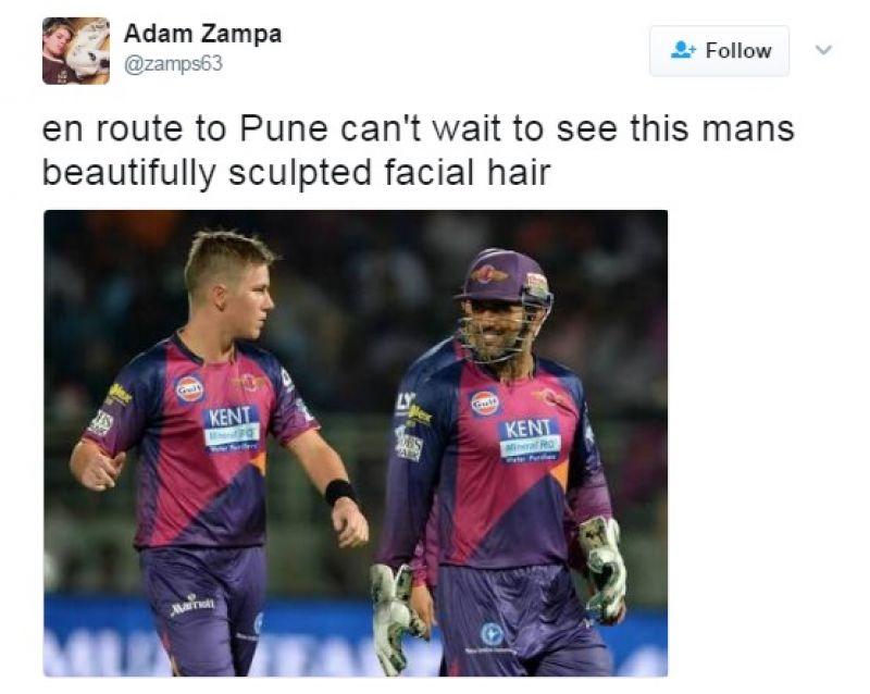 Adam Zampa, MS Dhoni, Rising Pune Supergiants, Indian Premier League, Adam Zampa MS Dhoni tweet