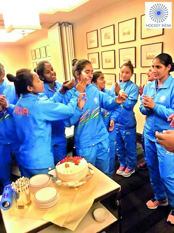 Happy family: Candid moments as Monika celebrates her birthday with team mates after their victorious campaign at the Asia Cup in Japan.