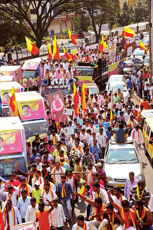 Karnataka Film Chamber of Commerce President Sa Ra Govindu along with other pro- Kannada organisations took a out a rally from Town Hall to Freedom Park demanding the central government intervention to resolve Mahadayi river water dispute.