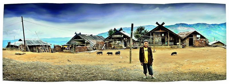 He and She Houses at Liyai Khullen in Manipur.
