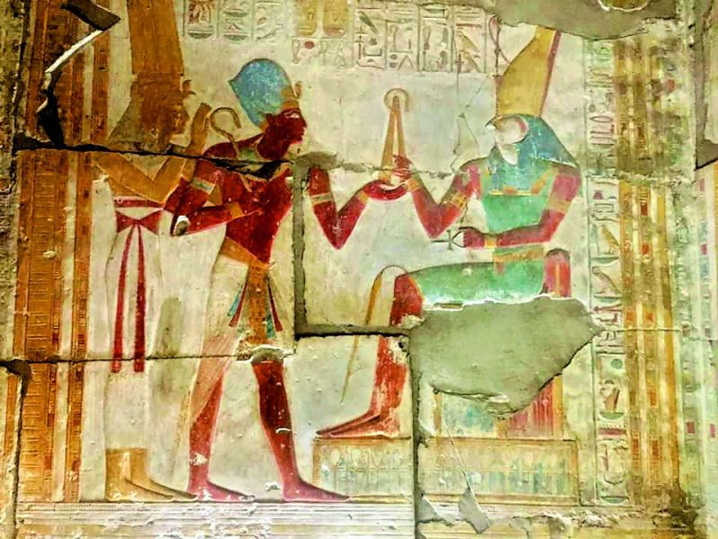 Vibrant colours inside Temple of Osiris, Abydus