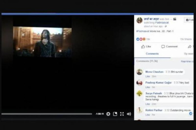 'Padmaavat' movie was leaked on Facebook live.