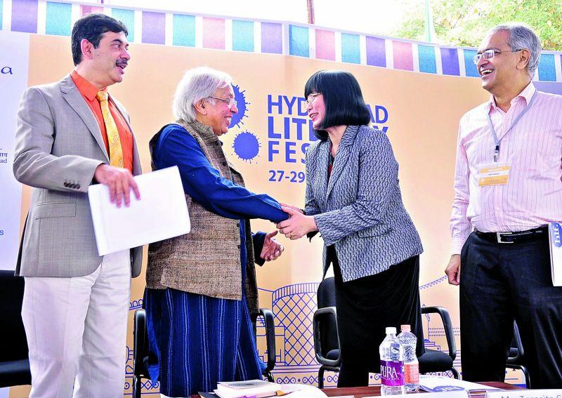 Telangana State I.T. Secretary Jayesh Ranjan, poet Ashok Vajpeyi and Ambassador Teresita C. Daza