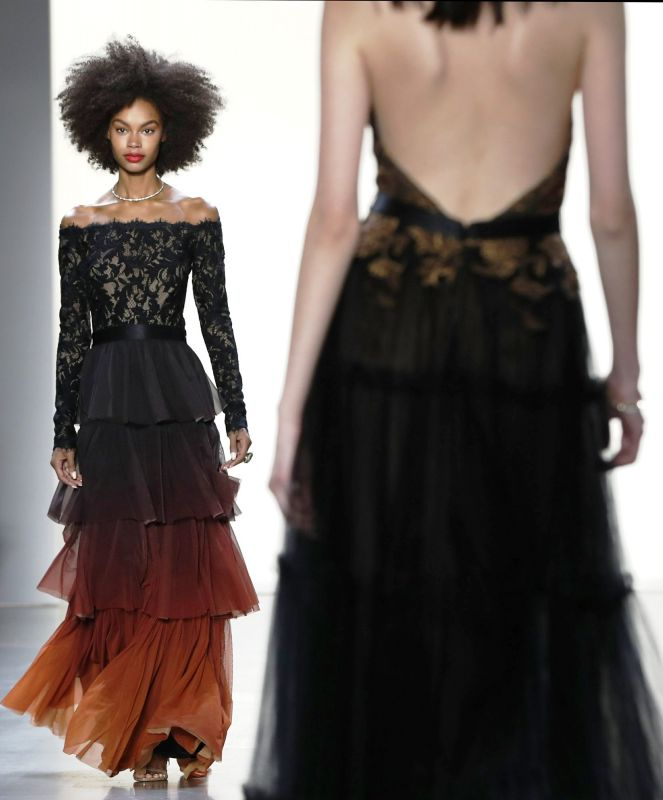 gorgeous statement Black and orange ombre of shoulder dress.  (Photo: AP)