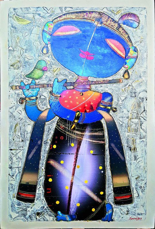 A painting by Gundu Anjaneyulu