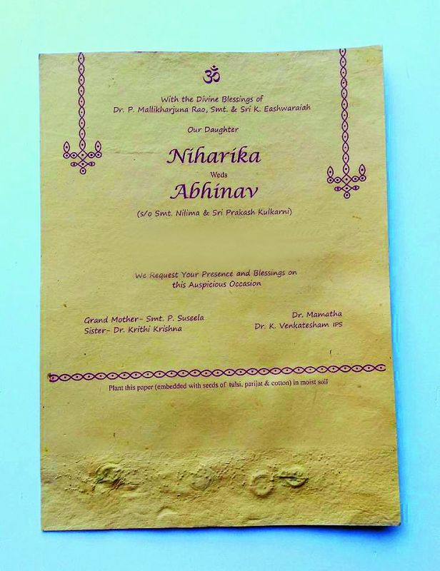 The organic wedding card of Niharika and Abhinav's wedding