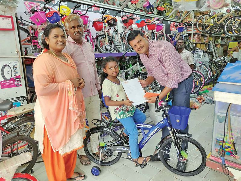 The Hero cycles gifted her a cycle on Monday.