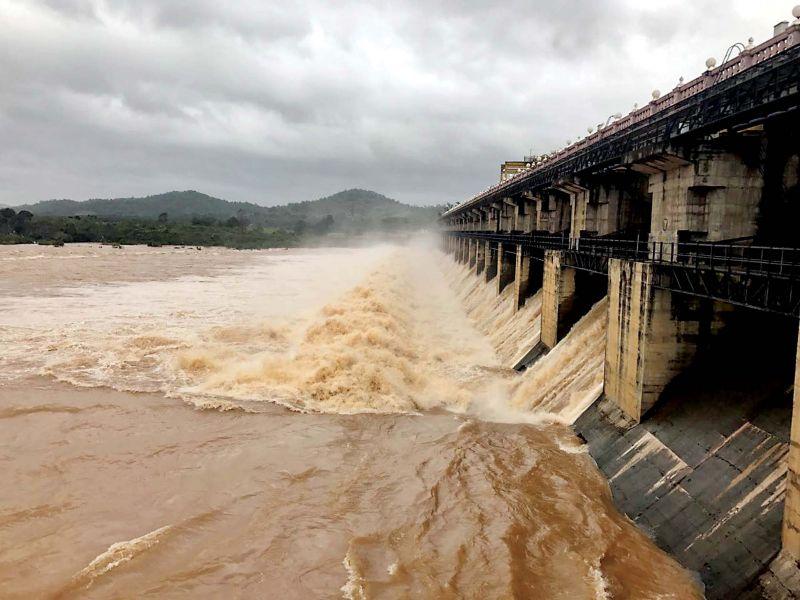 Water being released from Tunga dam near Shivamogga on Friday  (Photo: KPN)